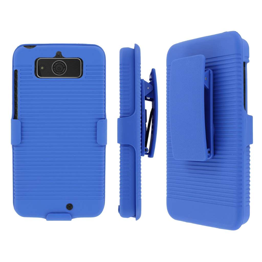 Motorola Droid Mini Belt Clip Case, MPERO Collection 3 in 1 Tough Blue Kickstand Case for Motorola DROID Mini