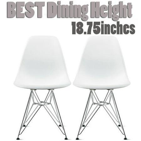 2xhome Set Of 2 White Desk Chair Mid Century Modern Plastic Molded