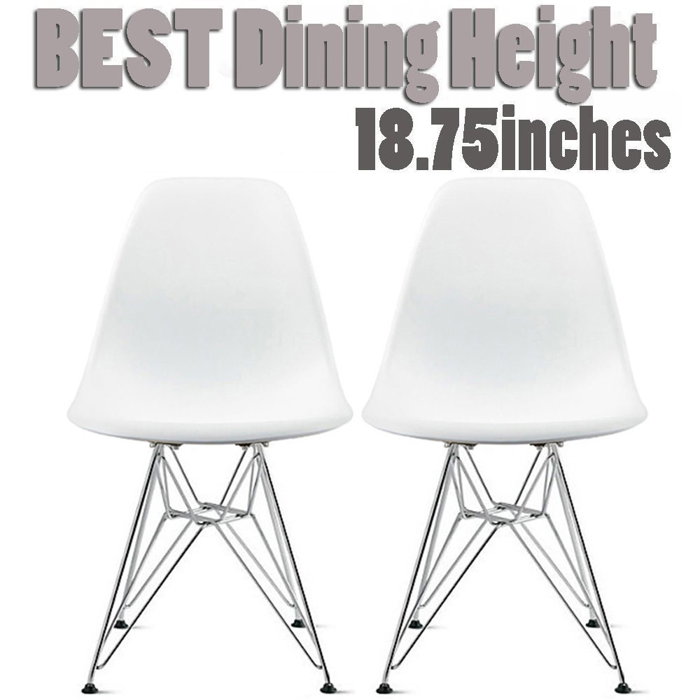 2xhome Set of 2 White Desk Chair Mid Century Modern Plastic Molded Shell Assembled Chairs Chrome Wire Metal Eiffel Side Armless No Arms DSW for Work Office Dining Living Kitchen Bedroom