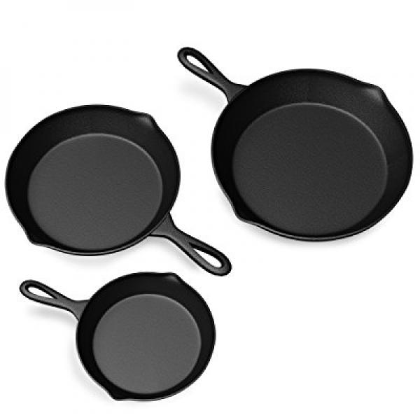 Pre Seasoned Cast Iron Skillet - 3 Pan Set 11 & 7.67 & 6.1 Size