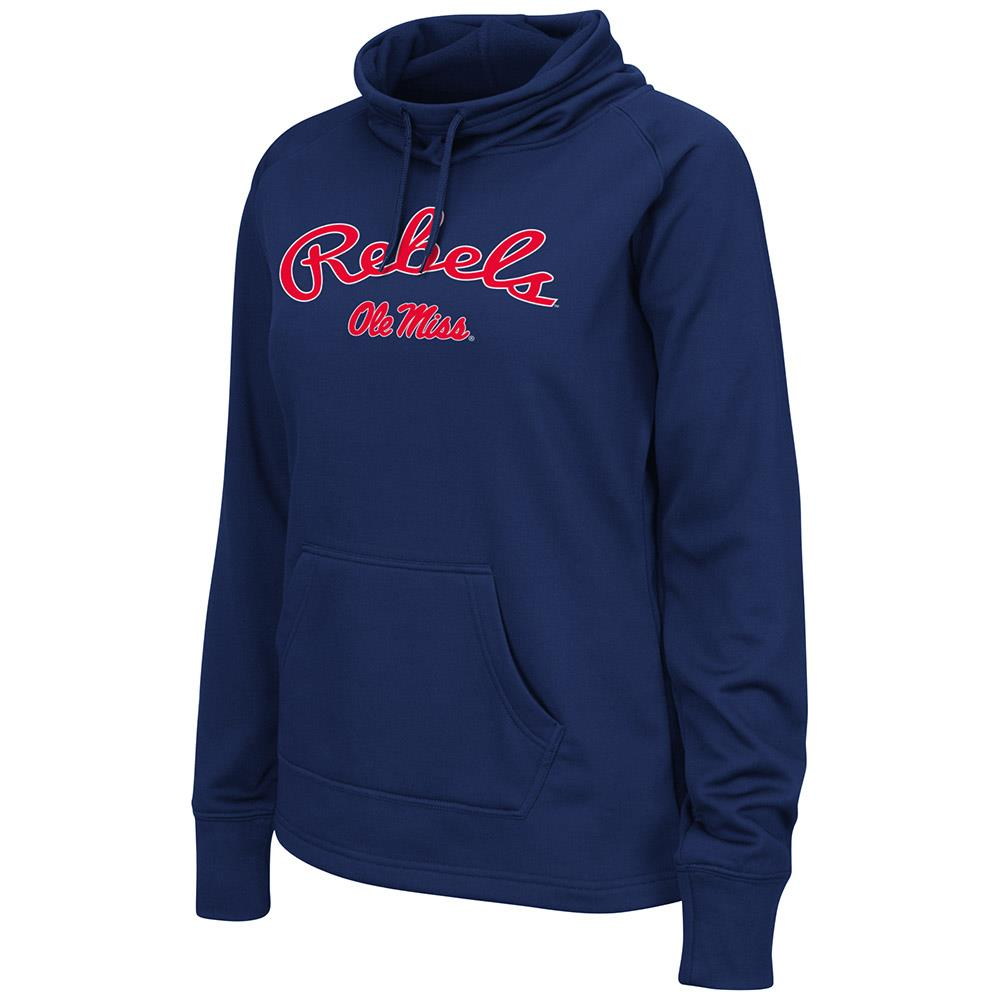 Womens Ole Miss Rebels Poly Pull-over Funnel Neck Sweatshirt
