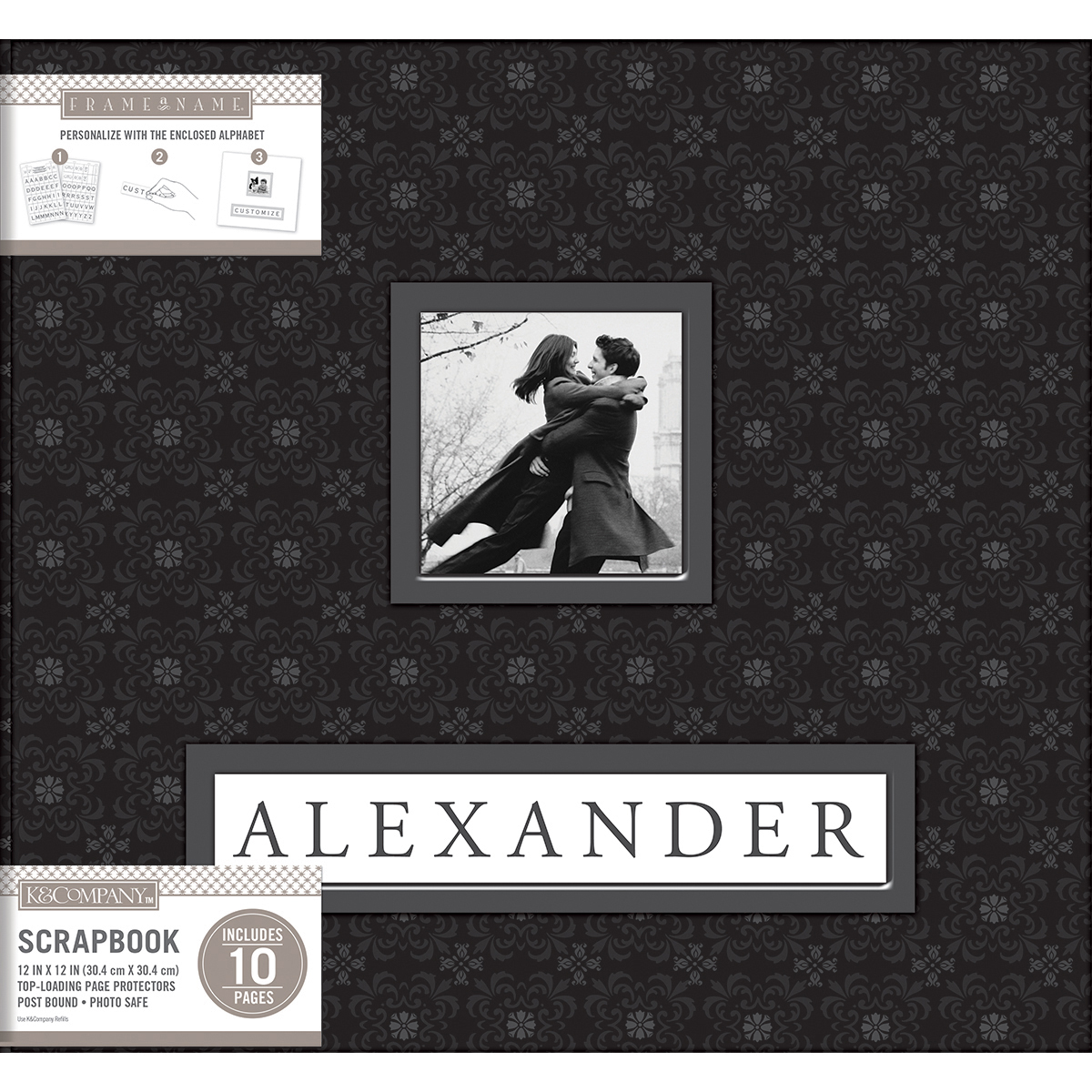 "K&Company Frame-A-Name Post Bound Album 12""X12""-Black"