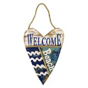 Welcome to the Beach Wood Heart Shaped Wall Plaque 11 Inches