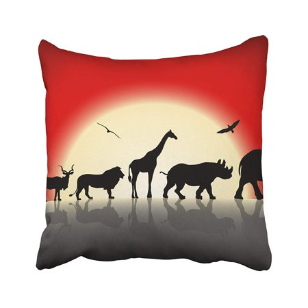 ARHOME Yellow Collage Silhouettes of Wild Animals on Red Sunset Elephant Lion Shadow Africa Pillow Case Pillow Cover 20x20 inch Throw Pillow Covers