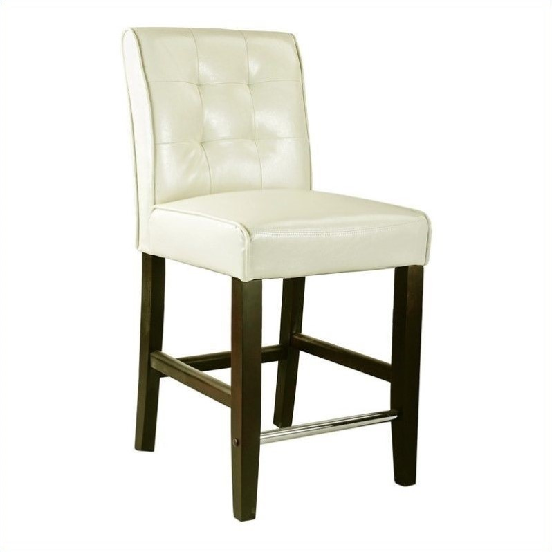 Atlin Designs 25 Bonded Leather Counter Stool In Cream White
