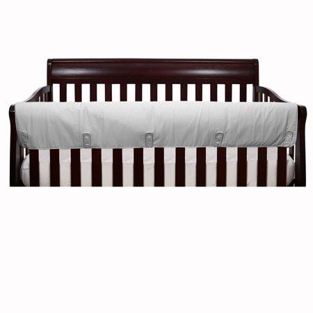 The Peanut Shell Baby Crib Rail Guard - Solid Grey Front Crib Rail Guard Padded Protector
