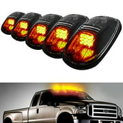 iJDMTOY 5PCS Amber LED Cab Roof Top Marker Running Lamps With Smoked Lens For Ford F150 F250 F350 Dodge RAM GMC Sierra 1500 2500 Yukon Chevrolet Silverado Toyota Tundra Tacoma Truck SUV And More