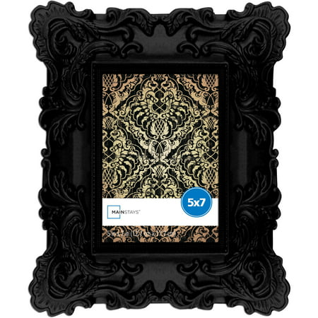 Mainstays 5x7 Chunky Baroque Picture Frame, - 5x7 Black Wood Frame