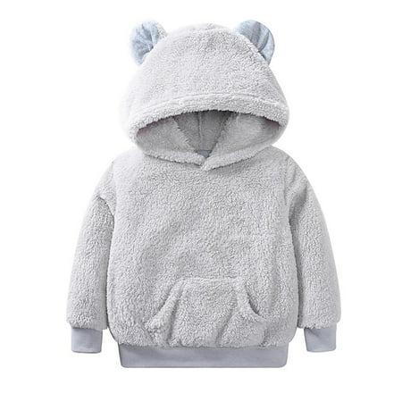 Babula Baby Boys Girls Bear Furry Hooded Long Sleeve Sweatshirt Coat - Furry Girl