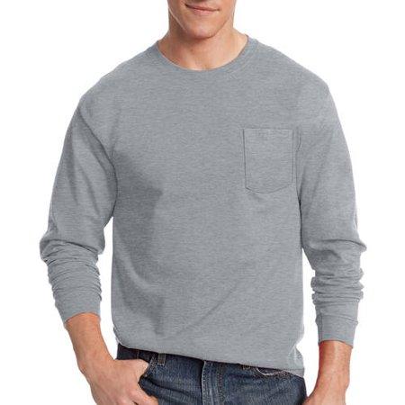 Hanes Men's Tagless Cotton Long Sleeve Pocket Tshirt - Walmart.com