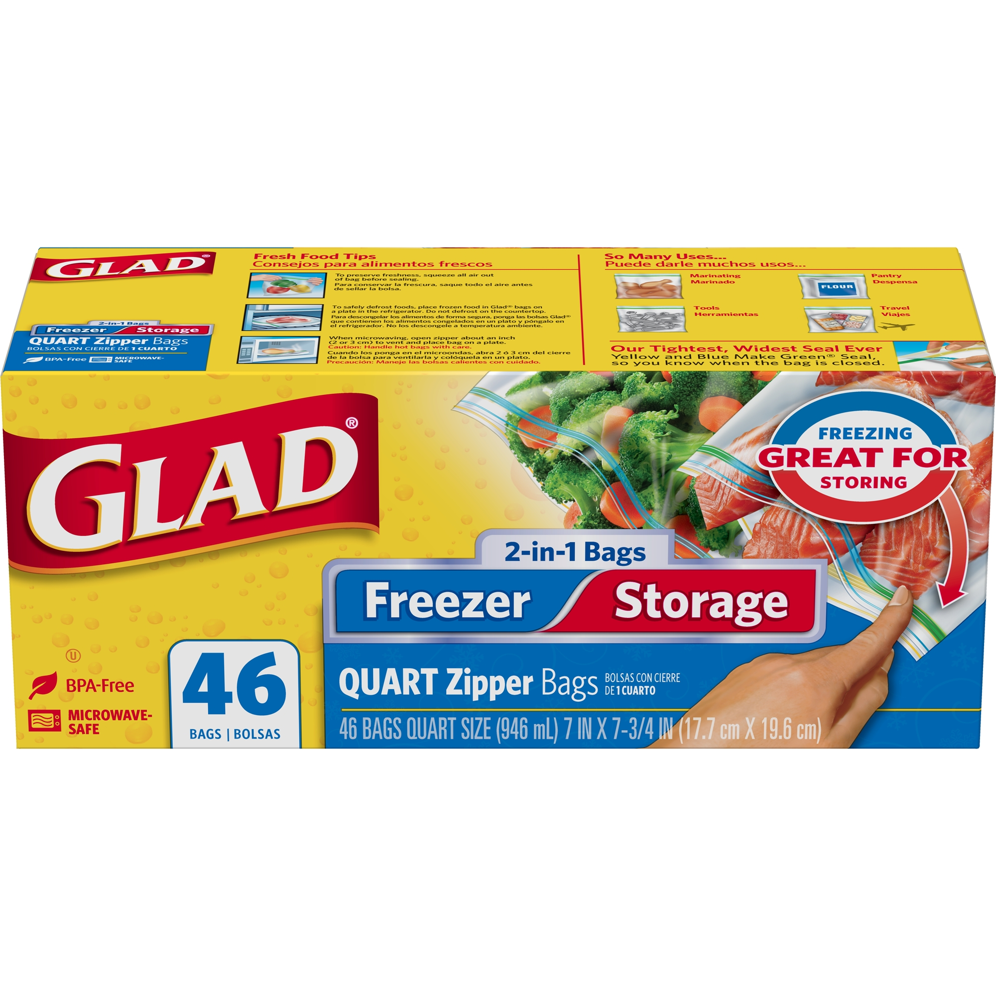 Glad Food Storage and Freezer 2 in 1 Zipper Bags - Quart - 46 ct