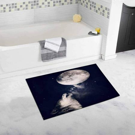 CADecor Wolf Howling at the Moon, Halloween Concept Bathroom Mat Bath Rug, Doormat 30x18 inches - Halloween Wolf Howl Mp3