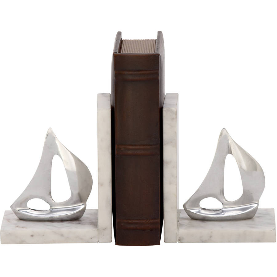 49664 Stunning Aluminum Marble Bookend Pair by Benzara