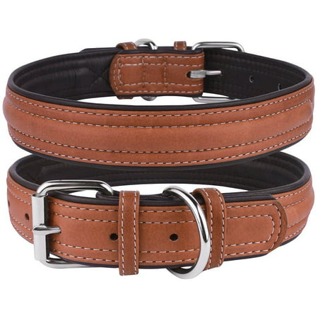 Leather Dog Puppy Collar for Extra Large Dogs Soft Padded, Brown