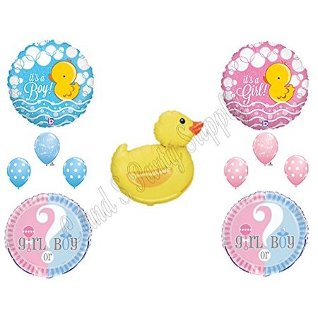 Gender Party Decorations (DUCKY GENDER REVEAL Party Balloons Decoration Supplies Boy Girl Duck)
