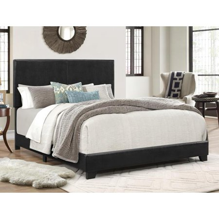 Crown Mark Erin Faux Leather Bed, Black, Queen