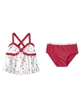 Infant Girls Colorful White Polka Dot 2 Pc Tankini Swimming & Bathing Suit