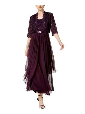 20e5d64b3f349 Product Image R M Richards Petite Womens Sequin Lace Long Jacket Dress -  Mother Of The Bride Dress