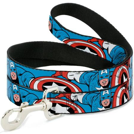 Dog Captain America (MARVEL COMICS Dog Leash - Captain America in Action Blue)