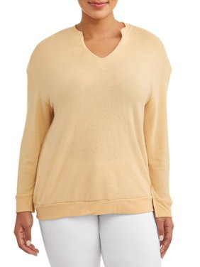 5c13b29ce46d Product Image Women s Plus Size Cozy V-Neck Sweatshirt with Sleeve Slits