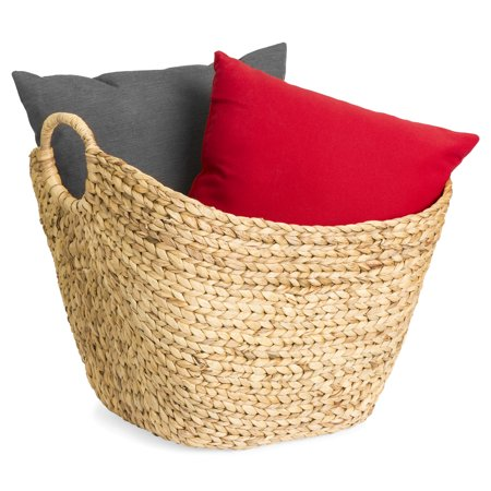 Best Choice Products Portable Large Hand Woven Seagrass Wicker Braided Storage Laundry Blanket Toys Basket Organizer for Home w/ Handles, Strong Steel Frame,