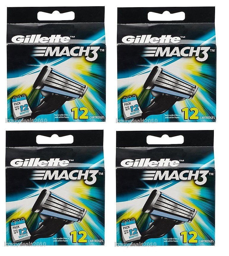 Gillette Mach3 Refill Cartridges, 12 Ct. (Pack of 4)