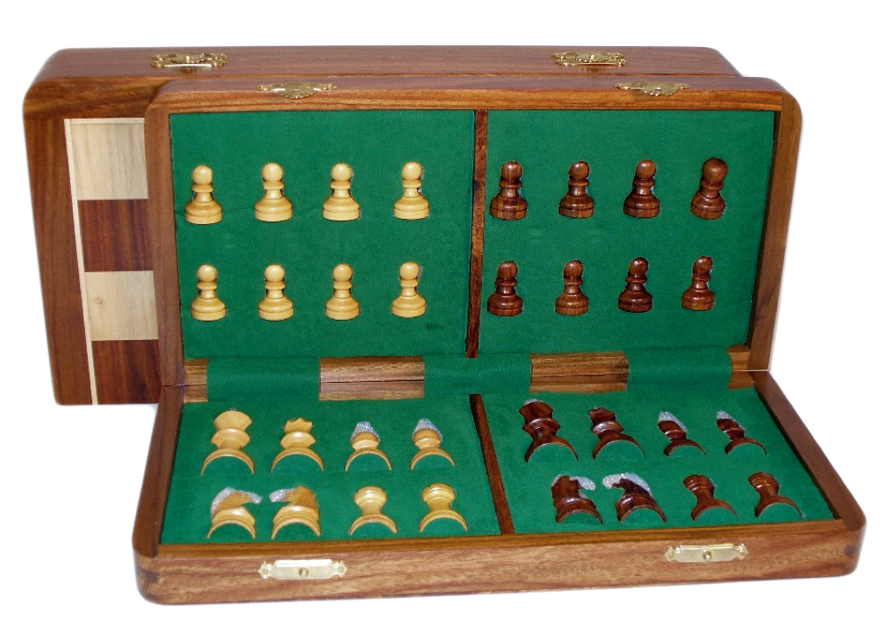 16 Inch Folding Wood Magnetic Chess Set by World Wise Imports