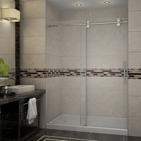 Aston Langham 60 x 77 5 Single Sliding Completely Frameless Shower Doo