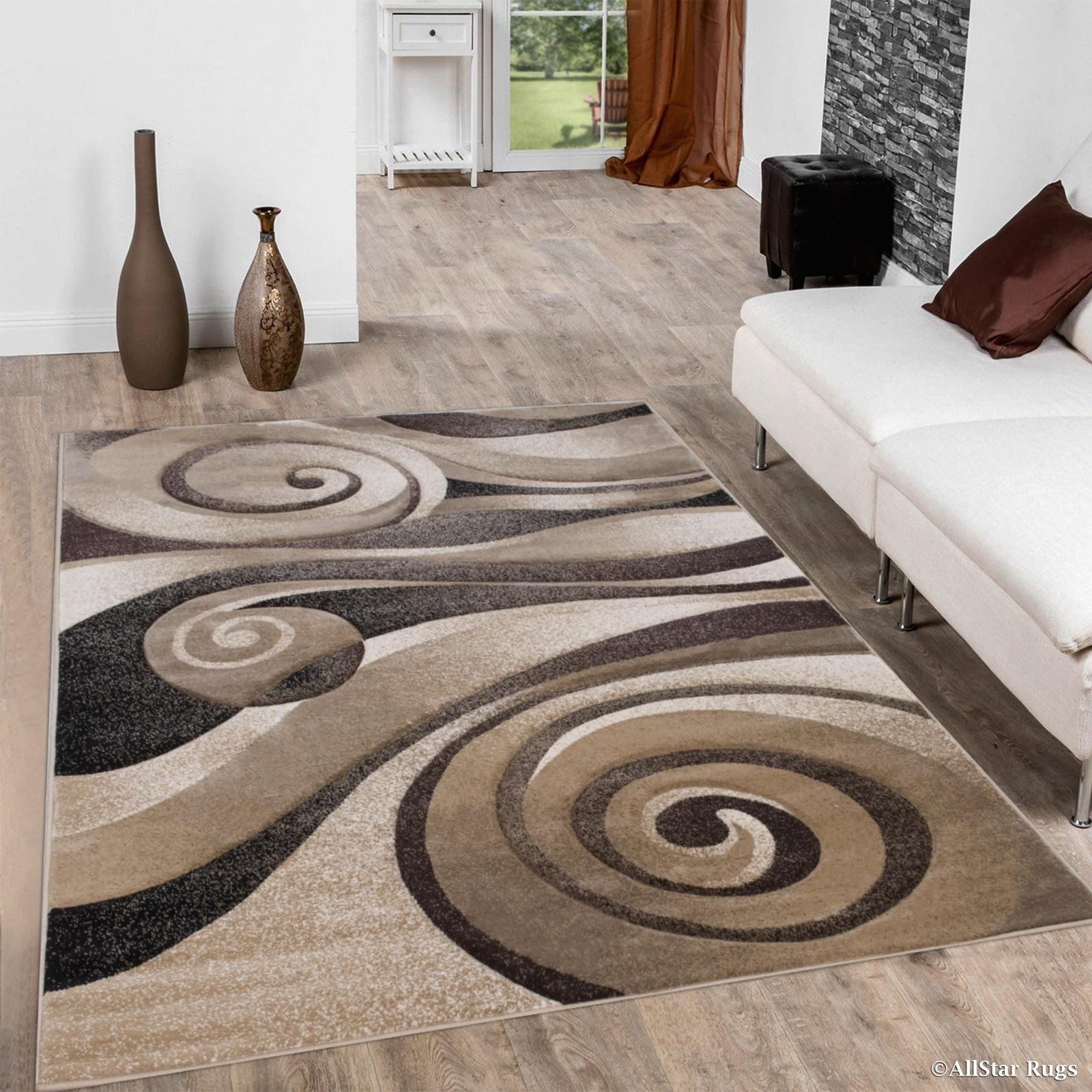 "Allstar Brown   Beige Woven Hand Carved Floral Spiral Design Area Rug (5' 2"" x 7'... by Overstock"