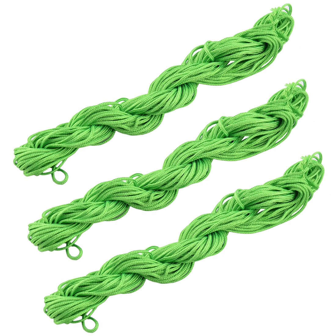 Polyester Chinese Knot Bracelet Rattail Cord String Light Green 16 Yards 3pcs