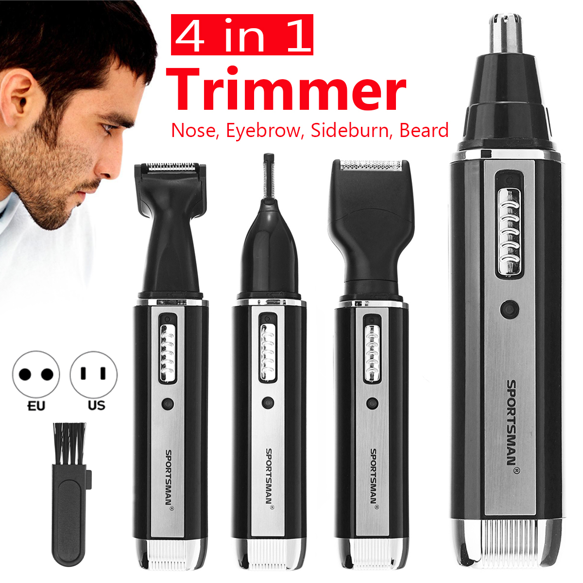 4 in 1 Beard Rechargeable Trimmer Mustache Clipper Shaver Cordless Hair Razor Kit