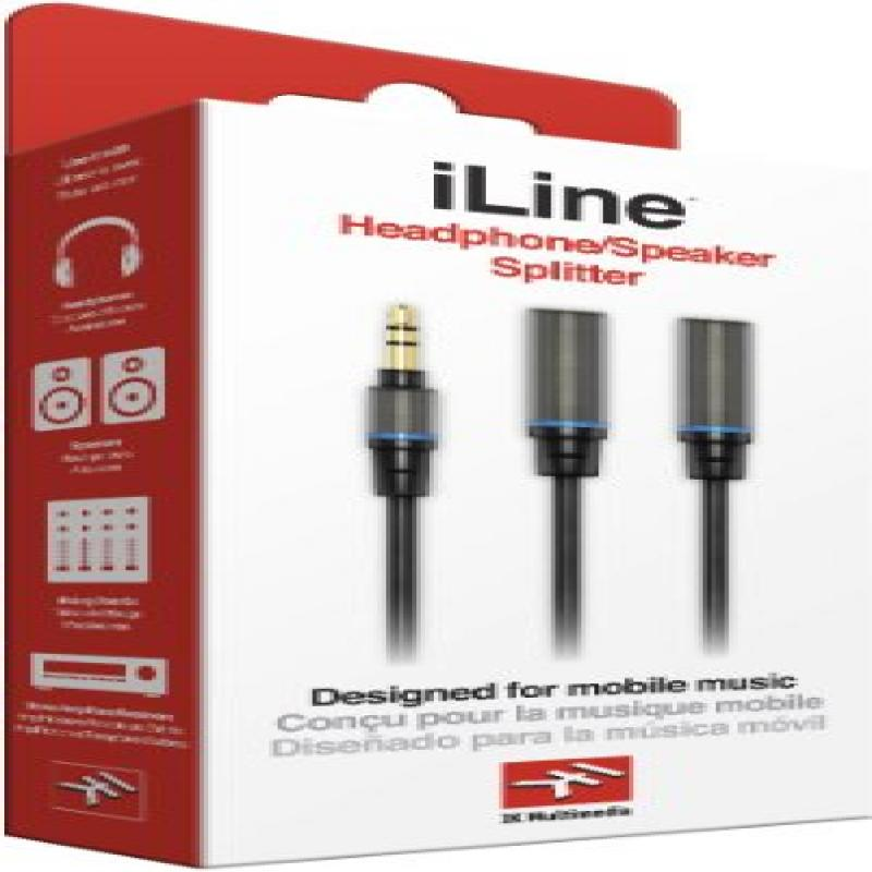 IK Multimedia iLine Headphone Splitter IK Multimedia Cable for Mobile Phones and Tablets - Retail Packaging - Black