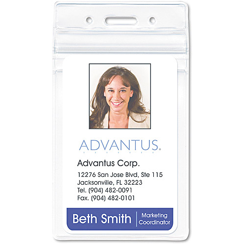 Advantus Resealable ID Badge Holder, Vertical, 2 5/8w x 3 3/4h, Clear, 50/Pack