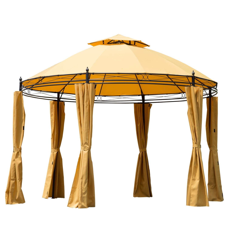 Outsunny 11u0027 Round Outdoor Patio Party Gazebo Canopy W/ Curtains   Orange    Walmart.com