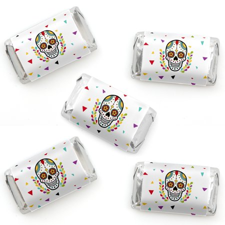 Day Of The Dead - Mini Candy Bar Wrapper Stickers - Halloween Sugar Skull Party Small Favors - 40 Count (Nashville Bars Halloween Parties)