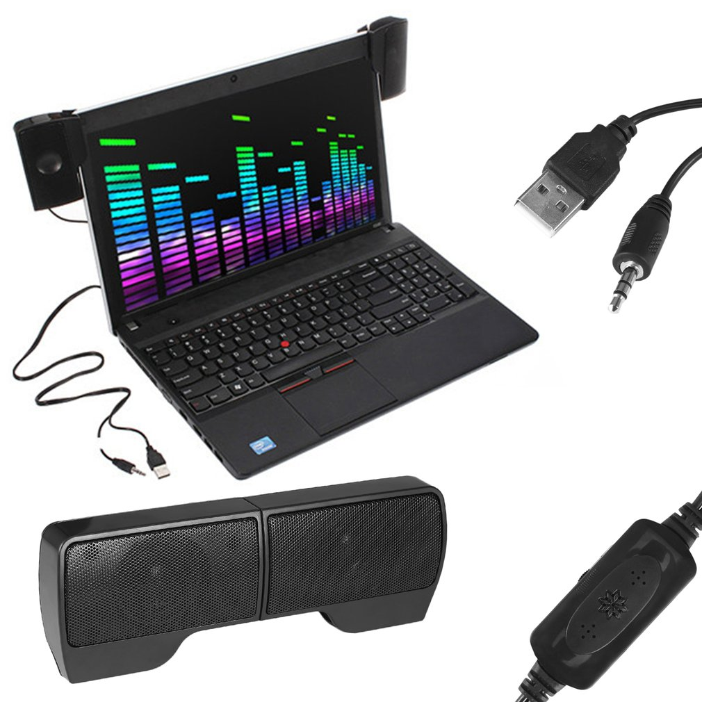 LESHP New Mini Portable USB Stereo Speaker for Notebook Laptop PC with Clip Black