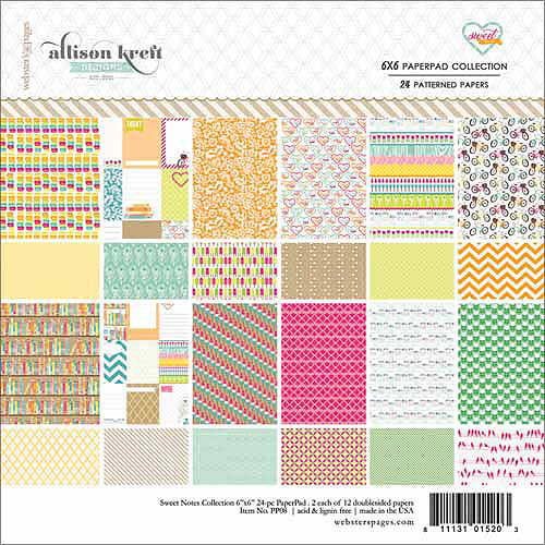 """Webster's Pages Sweet Notes Collection Pad, 6"""" x 6"""", 24/Sheets, 12 Double-Sided Designs/2 Each"""