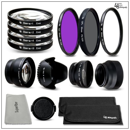 52mm Accessory Kit for DSLR Camera Lenses with Wide Angle and Telephoto Lenses Plus Filter Carry Pouches by Loadstone Studio WMLS1223