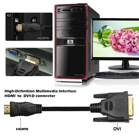 LivEditor HDMI to DVI D 24+1 Pin Adapter Cable Gold 1080P for HDTV Plasma DVD 6 Feet - image 2 de 6