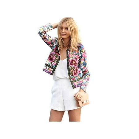 Ropalia Womens Casual Short Blazer Suit Slim Long Sleeve OL Floral Coat Outwear
