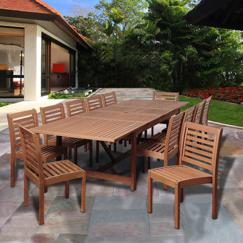 International Home Miami Tobago Eucalyptus 13 Piece Dining Set
