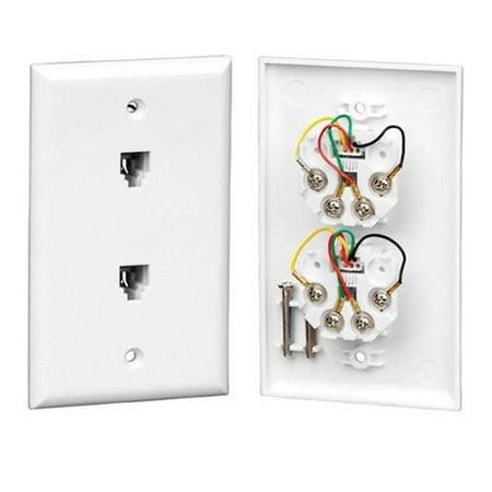Vericom XFPOP-00466 Dual Telephone RJ-11 / RJ-14 Single Gang Wall Plate - White