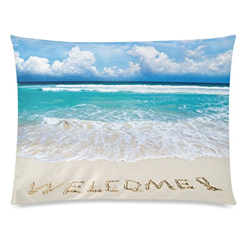 ZKGK Tropical Sea Beach Sand Home Decor, Summer Ocean Blue Sky Cloud Soft Pillowcase 20 x... by ZKGK