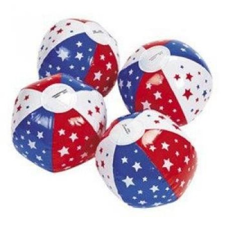 Mini Patriotic Star Beach Balls (1 dozen) - Bulk (Star Beach Ball)