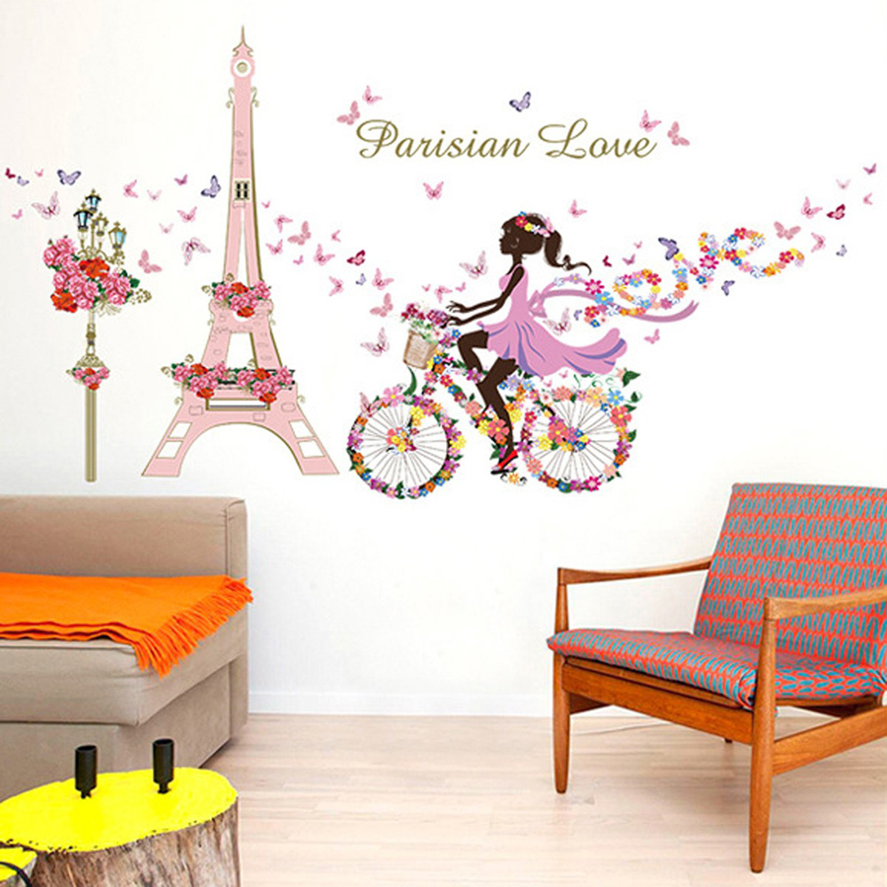 Removable Self Adhesive Wall Sticker PVC Film Girl In Paris Mural Art Wall  Decals 60