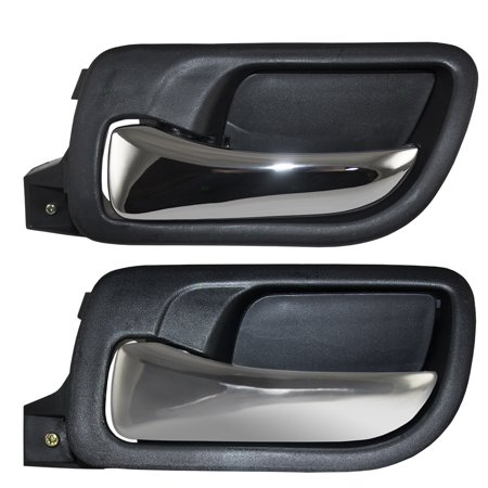Drivers Set of Front & Rear Inside Door Handles Chrome Lever w/ Black Housing Replacement for Honda Accord 72160SDAA02ZC 72660SDAA02ZA
