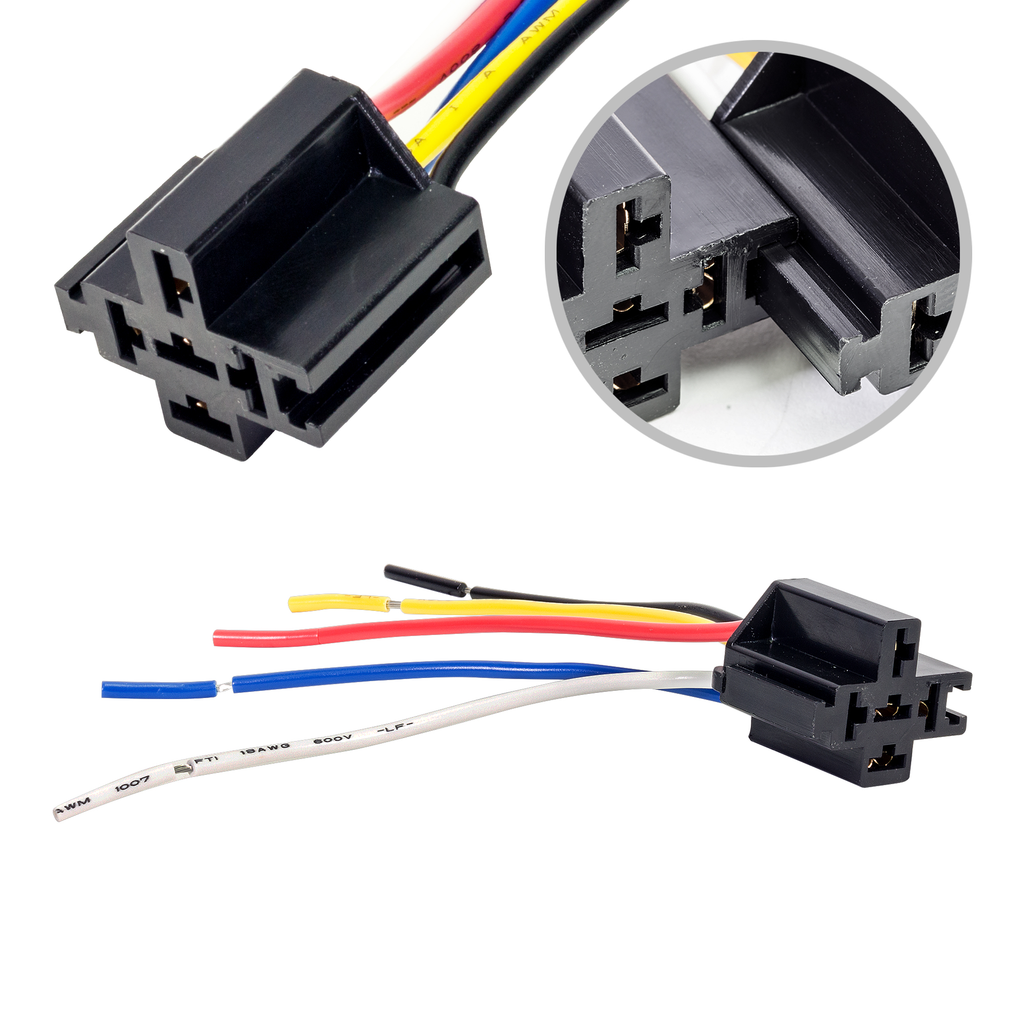 Ols Bosch Style 5 Pin Spdt Interlocking Relay Socket Harness Base With Wires