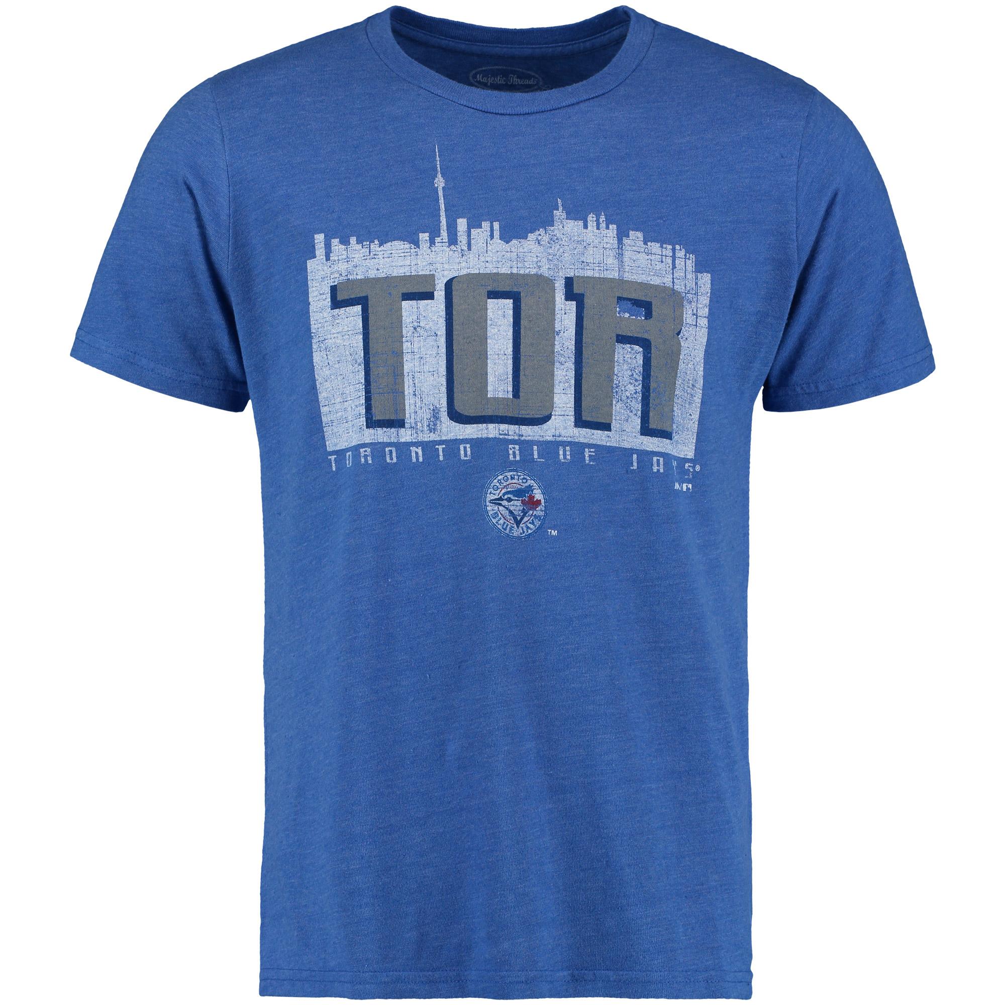 Toronto Blue Jays Majestic Threads Initial Skyline Premium Tri-Blend T-Shirt - Royal