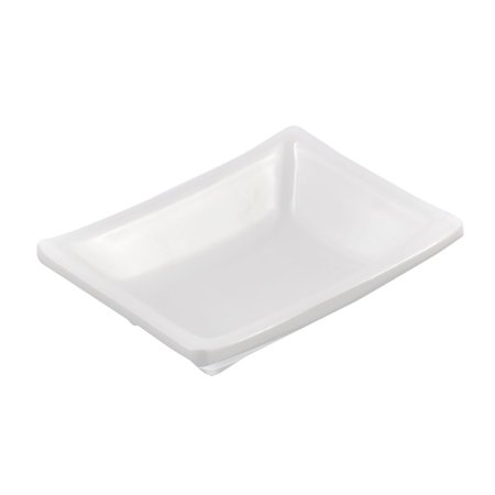 Unique Bargains Plastic Sushi Soy Sauce Wasabi Condiment Serving Dipping Dish Plate White (Plastic Serving Plate)