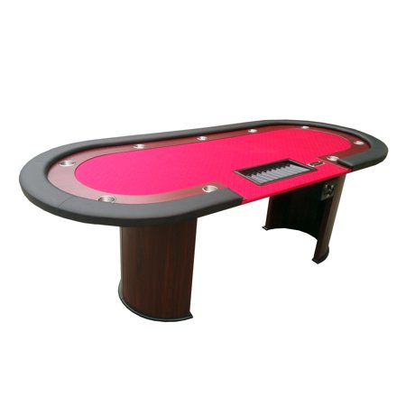 10 Player Poker Table Casino Texas Hold'em Play Table Holdem Card Game with Chip Tray Drop